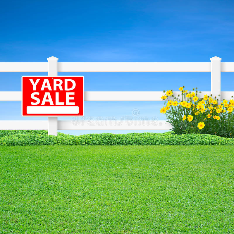 Download Yard sale sign and fence stock photo. Image of white - 29880244