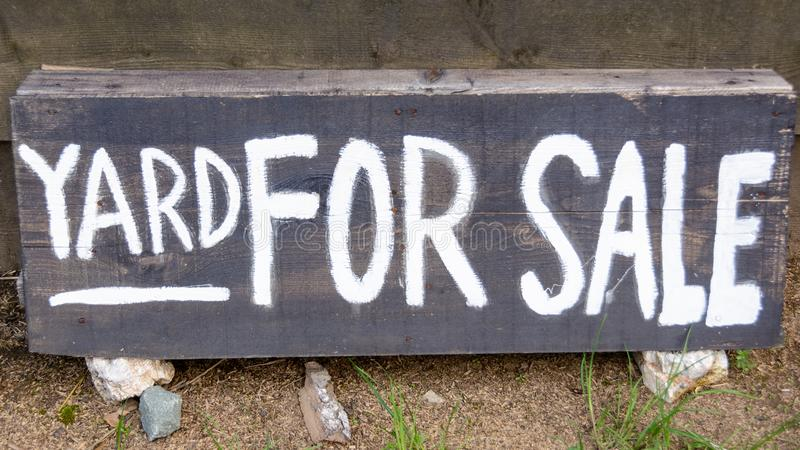 Yard for sale text stock image