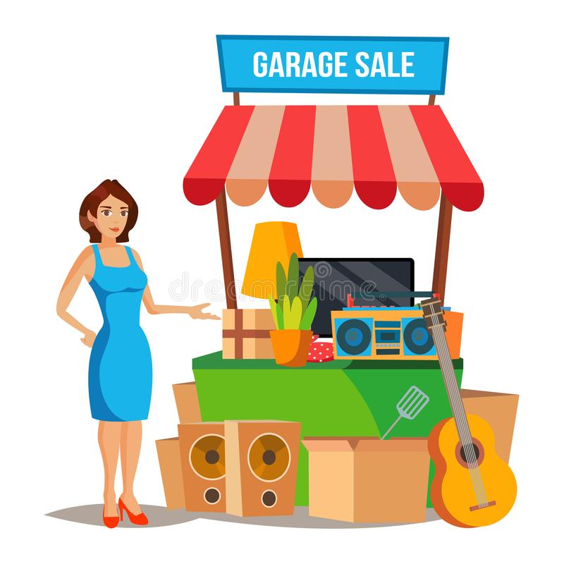 Yard Sale Vector. Household Items Sale. Woman Manning a Garage Sale. Cartoon Character Illustration stock illustration