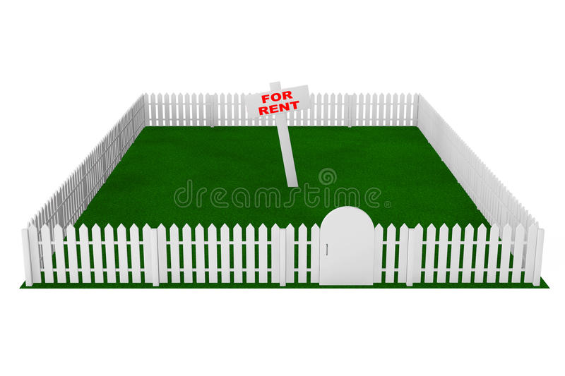 Yard with White Fence and For Rent Sign royalty free illustration