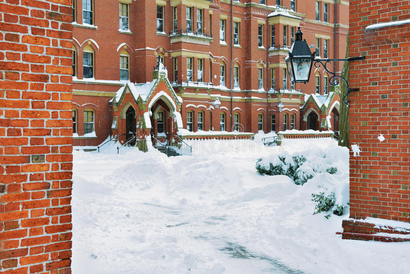 Yarda de Harvard en el invierno fotos de archivo