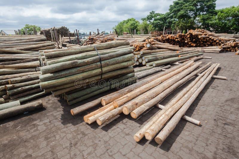 Yarda de madera de postes foto de archivo libre de regalías