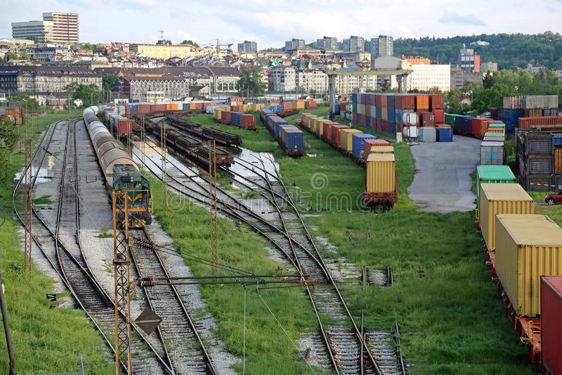 Yarda del ferrocarril imagenes de archivo