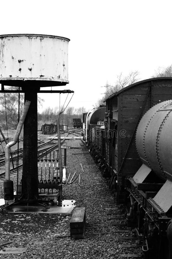 Yarda ferroviaria del vapor imagen de archivo libre de regalías