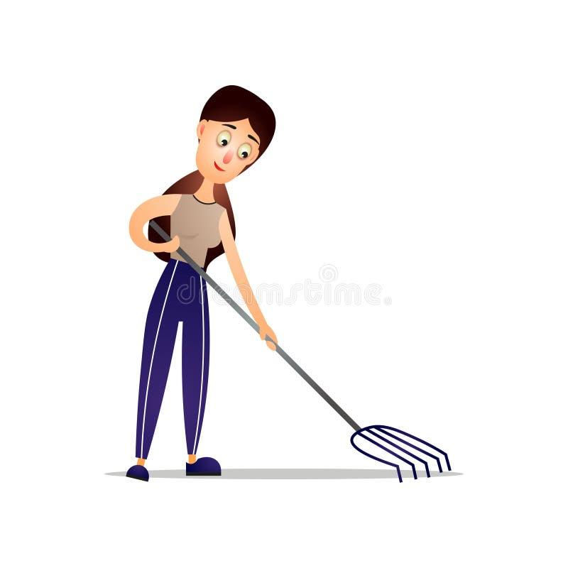 Yarda linda de la casa de la limpieza de la muchacha usando el rastrillo de la hoja libre illustration