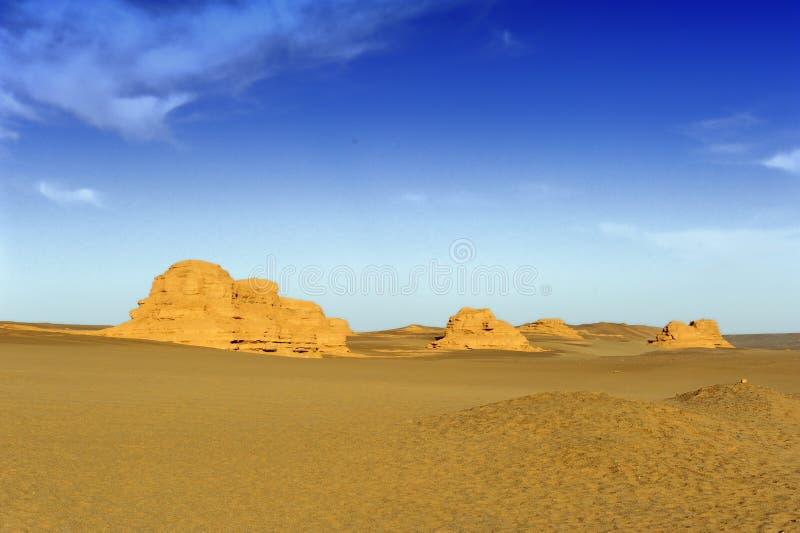 Yardang landforms of Dunhuang stock images
