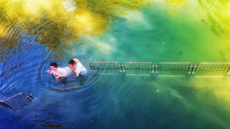 Место Yardenit Baptismal Северный Израиль стоковые фото