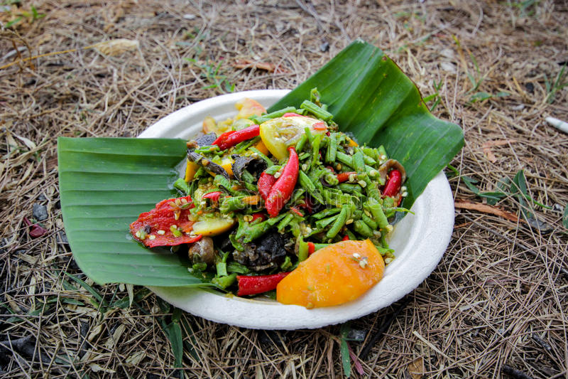 Yardlong bean spicy salad. On banana leaf stock image
