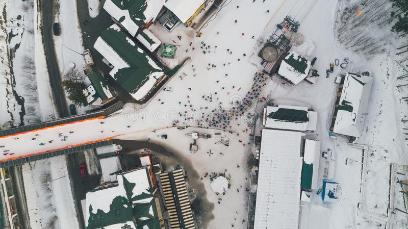 Aerial view of people. Carpathians. Winter. Snow stock images