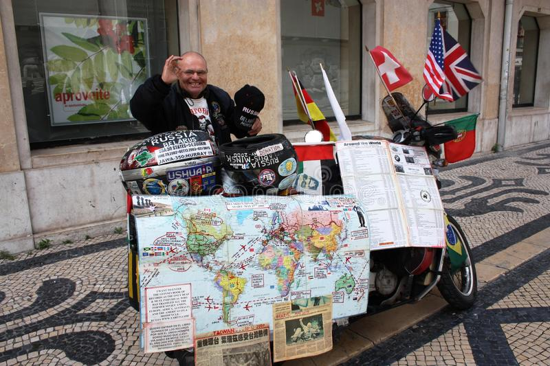 Yarets - first deaf person to make a round-the-world trip on a motorbike. Vladimir A. Yarets, 74, a native of Minsk Belarus, seriously believes his personality stock image