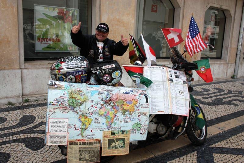 Yarets - pierwszy głucha osoba robić światowi ono potykać się na motocyklu obraz royalty free