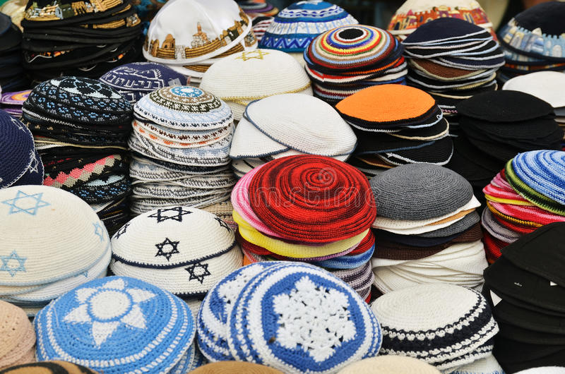 Yarmulke - traditionele Joodse headwear royalty-vrije stock foto