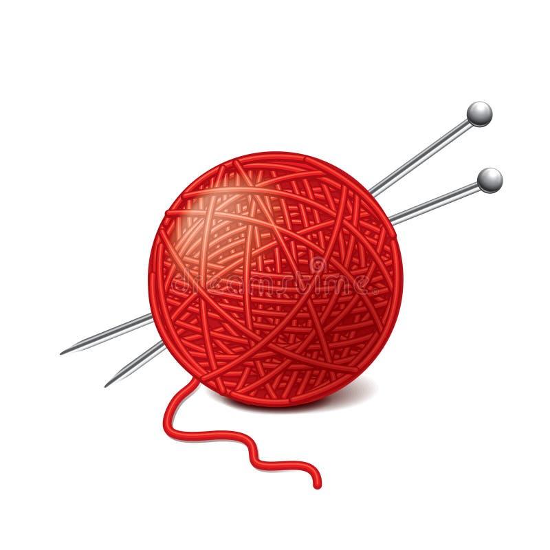 Yarn шарик и иглы изолированные на белом векторе бесплатная иллюстрация