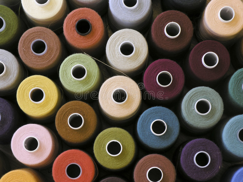 Yarn. Bobbins of different colours
