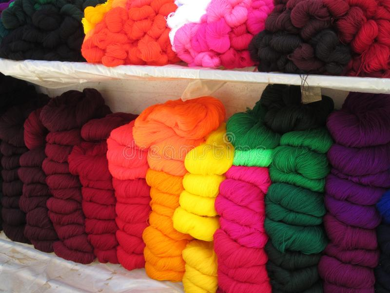 Yarn from alpaca wool in Bolivia. This vibrantly colored wool was for sale in a local market in Bolivia; it was made from the wool of alpacas royalty free stock photography