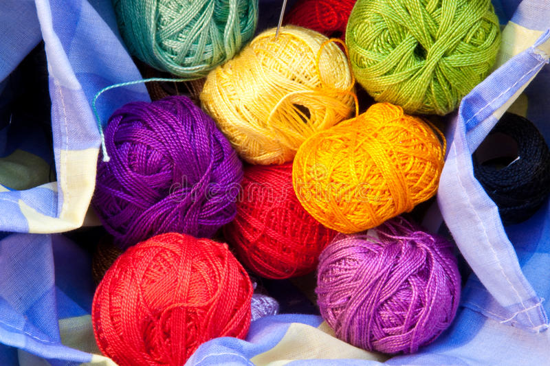 Yarn balls in a basket royalty free stock photos