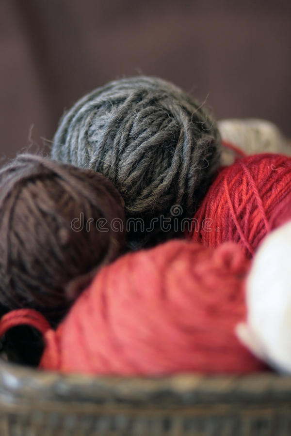 Yarn balls in basket stock photo