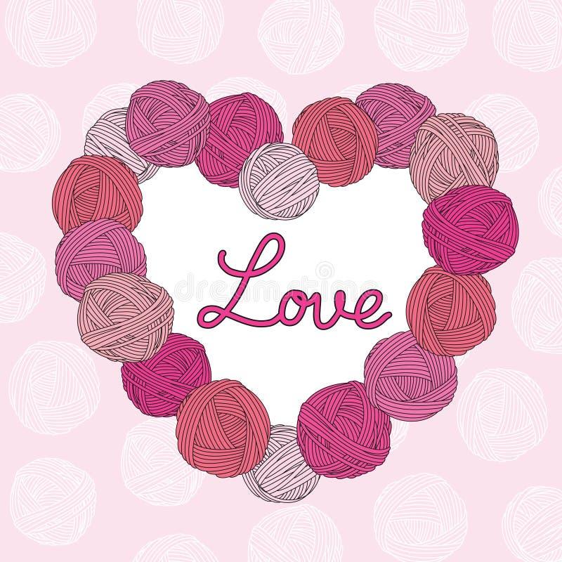 Yarn balls heart. Valentine`s Day. Pink background. vector illustration