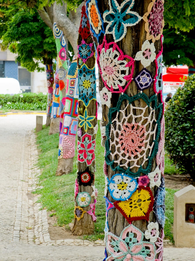 Download Yarn Bombing In Trees. European Park. Stock Photo   Image Of  Nature,