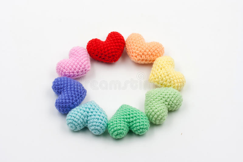 Yarn hearts on white background. Colorful Yarn hearts on white background stock images