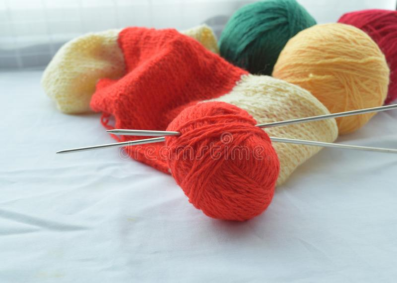 Yarn for knitting stock images