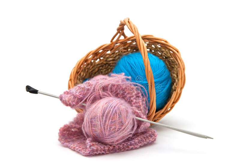 Yarn for knitting with knitting needles. In a wicker basket stock photos