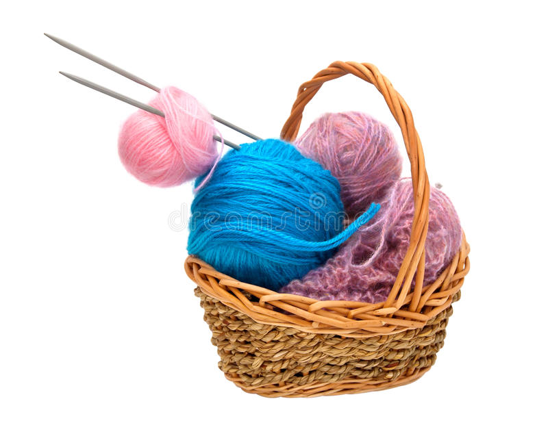Yarn for knitting with knitting needles. In a wicker basket royalty free stock image