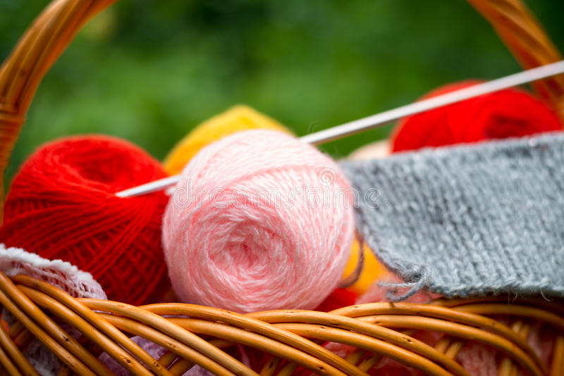 Yarn and knitting needles. Basket of yarn and knitting needles stock image