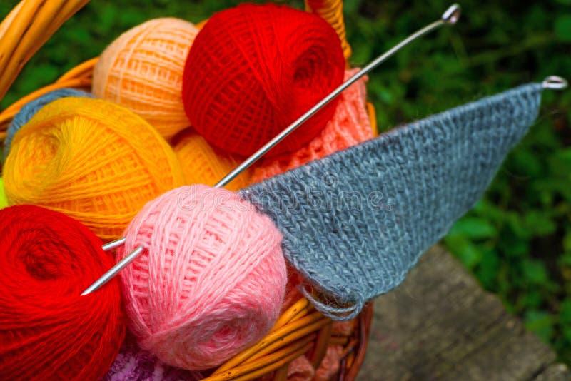 Yarn and knitting needles. Basket of yarn and knitting needles royalty free stock images