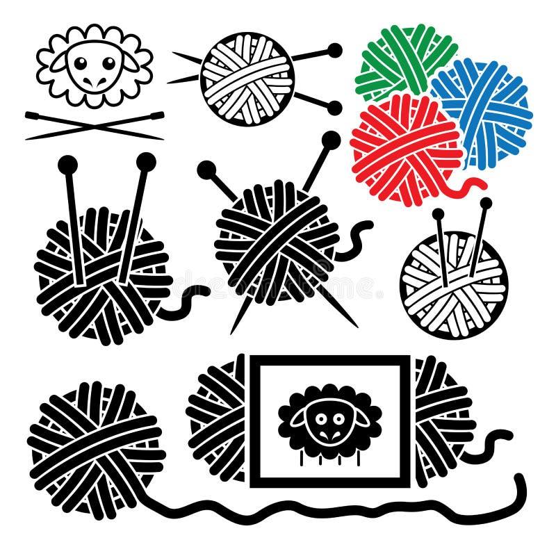 Yarn le palle con gli aghi e lei di cucito dell'attrezzatura illustrazione vettoriale