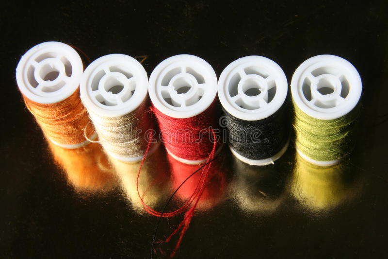 Yarn needle. Several yarn in different color royalty free stock image