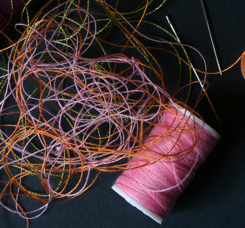 Yarn needle. Several yarn in different color stock photography