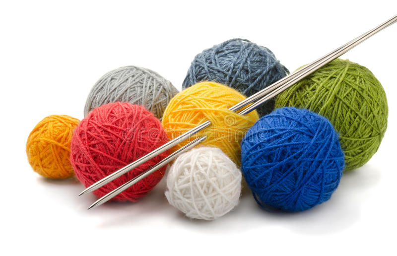 Yarn and needles royalty free stock photography