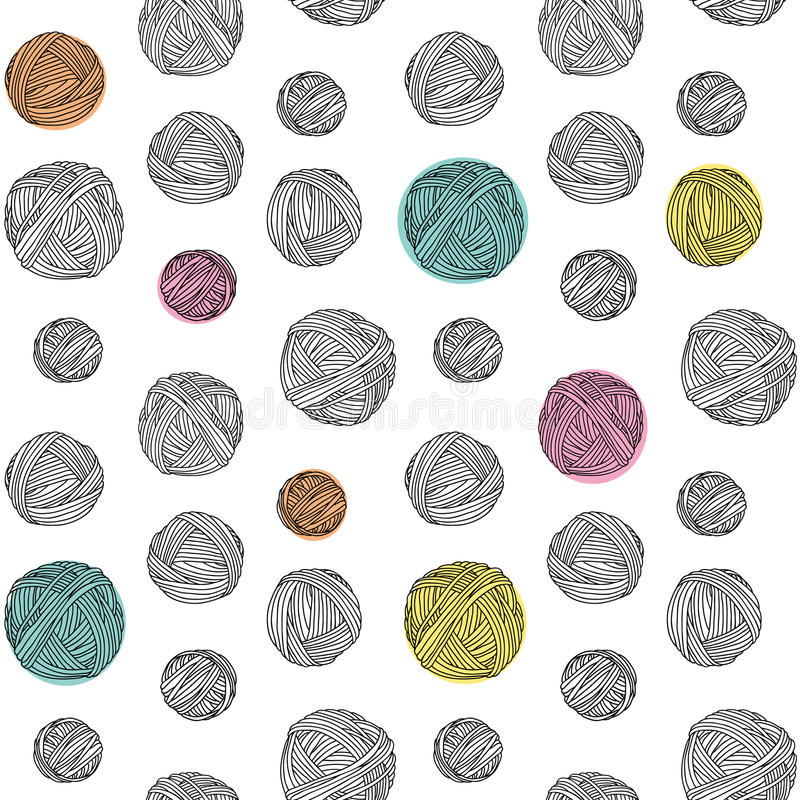 Yarn skeins, seamless background. vector illustration