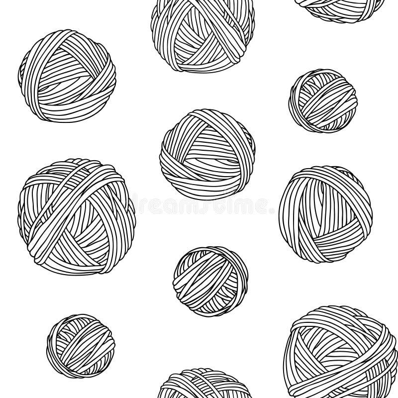 Yarn skeins, seamless background. stock illustration