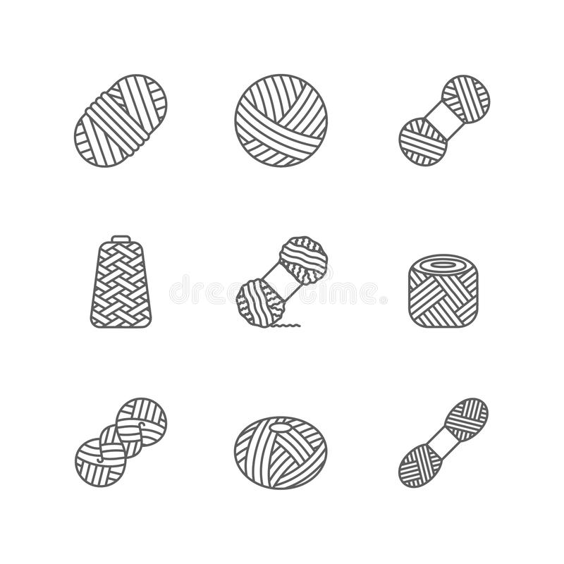 Yarn woolen, cashmere or acrylic ball for knitting hobby. Wool thead skein icon for hand made shop and other knit design. Progect stock illustration