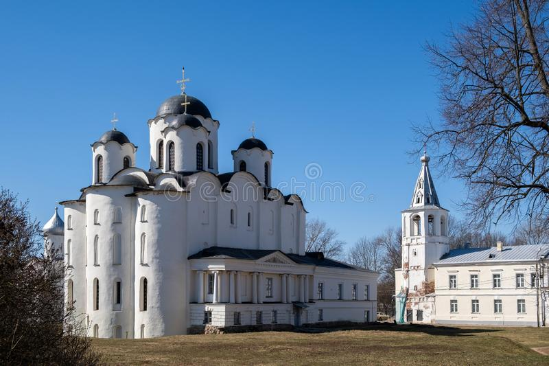 Yaroslav`s Court in Veliky Novgorod. Nikolo-Dvorishchensky Cathedral, an important historical tourist site of Russia stock image