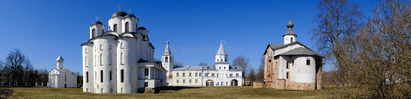 Yaroslav`s Court in Veliky Novgorod. Nikolo-Dvorishchensky Cathedral, an important historical tourist site of Russia royalty free stock photo