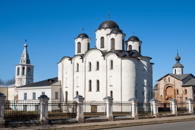 Yaroslav`s Court in Veliky Novgorod. Nikolo-Dvorishchensky Cathedral, an important historical tourist site of Russia royalty free stock photography