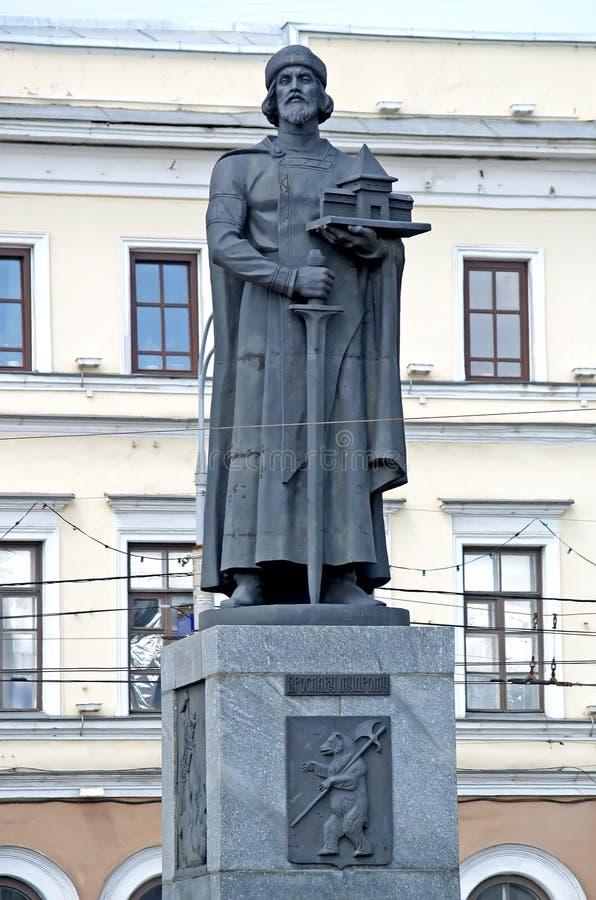 Yaroslavl, Rusia Un monumento al príncipe Yaroslav el sabio - al fundador de Yaroslavl foto de archivo libre de regalías