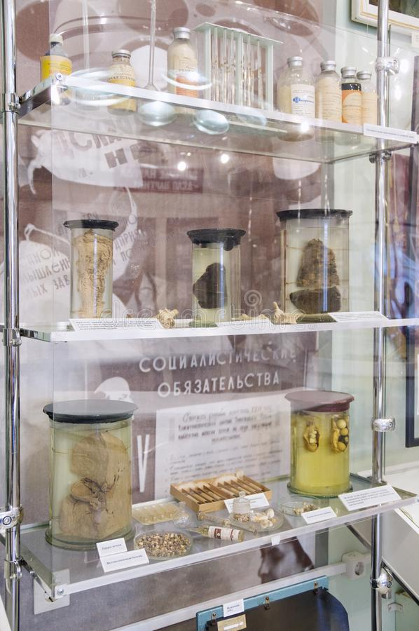 Cabinet with exhibits on the theme of soviet medicine stock image