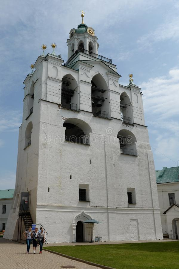 The bell tower of the Transfiguration Monastery. Museum Reserve Yaroslavl Kremlin royalty free stock photography