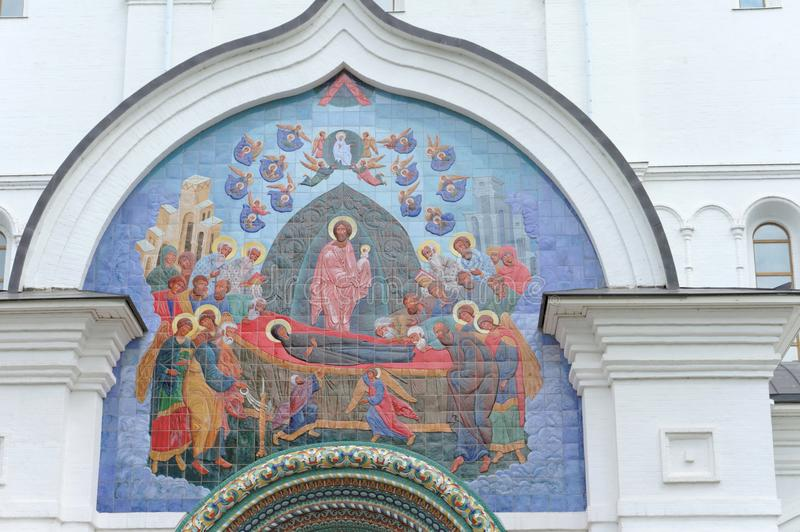 Yaroslavl, Russia. - June 3.2016. Mosaic panel above the entrance to the Assumption Cathedral. Yaroslavl, Russia. - June 3.2016. Mosaic panel above the entrance royalty free stock image