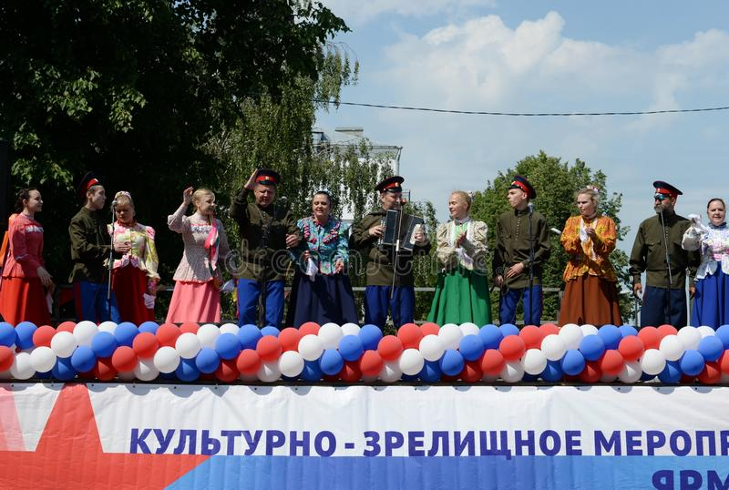 Performance of the Cossack team on the open stage in Yaroslavl royalty free stock photography