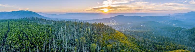 Yarra Ranges National Park - aerial panoramic landscape. royalty free stock image