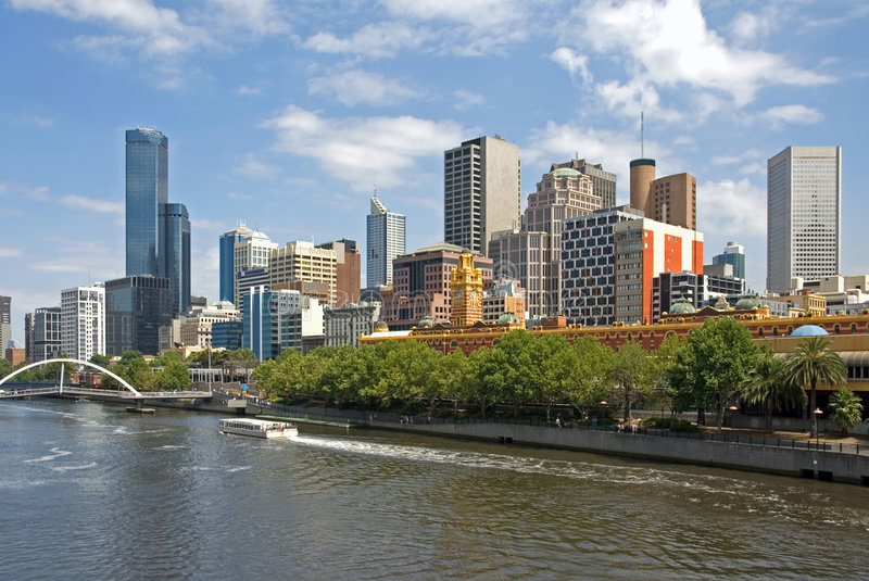 The Yarra River. Melbourne, with the Yarra River in the foreground stock photos