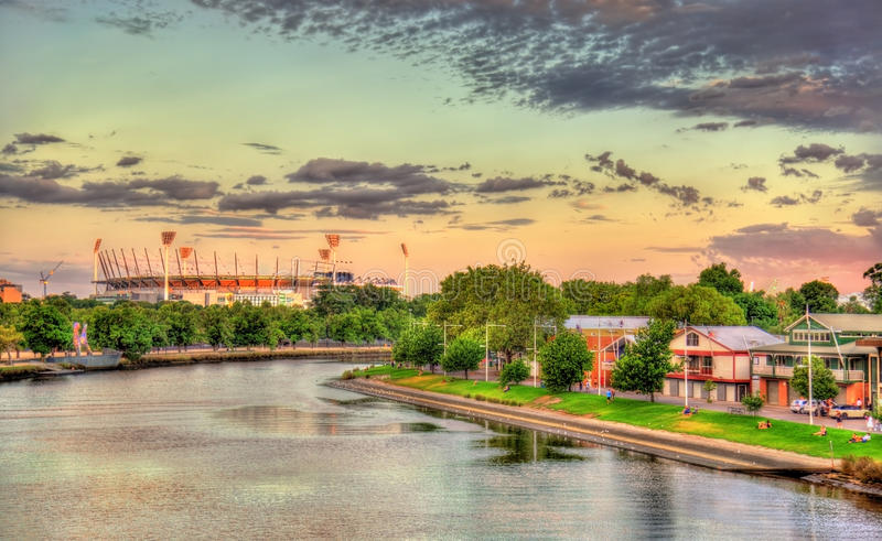 The Yarra River with Melbourne Cricket Ground - Australia. The Yarra River with the Melbourne Cricket Ground in the background - Australia royalty free stock photo