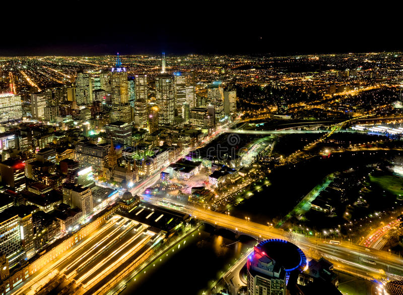 Yarra river and melbourne at night. Looking over melbourne city and yarra river stock photo