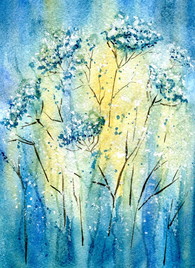 Yarrow flowers field royalty free illustration