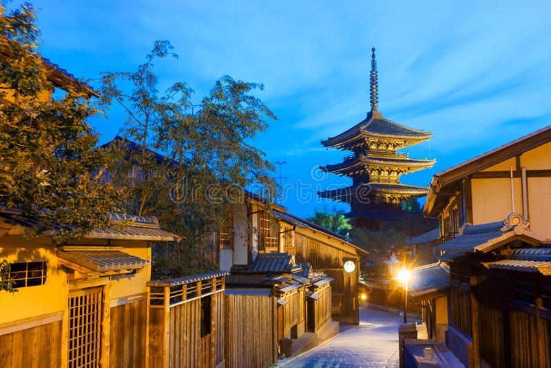 Yasaka arrière non à l'heure de bleu de voisinage de pagoda image libre de droits